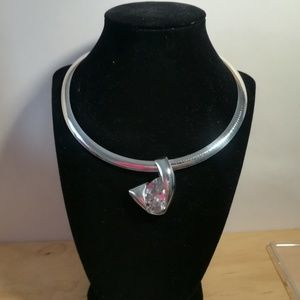Sterling silver choker with huge Stone